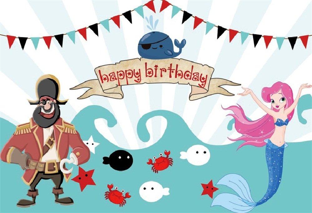 Pirate and mermaid clipart vector freeuse download OFILA Mermaid Birthday Backdrop 7x5ft Happy Birthday Photography Background  Underwater World Marine Animals Pirate Girls Mermaid Theme Birthday Party  ... vector freeuse download