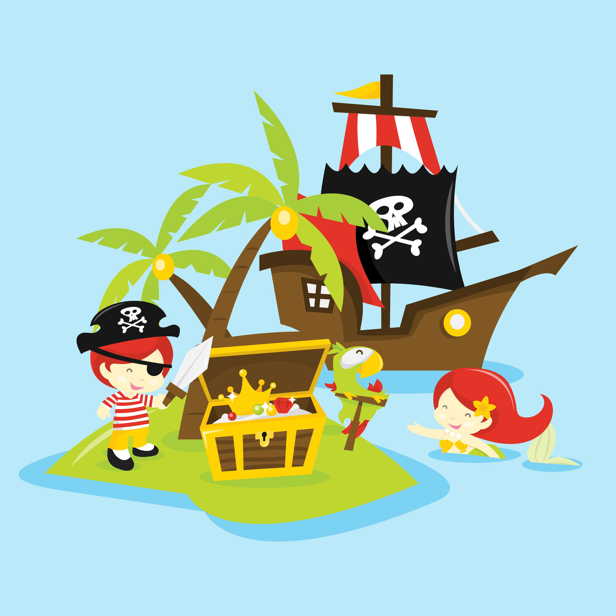 Pirate and mermaid clipart transparent stock There\'s A Brand New Pirates And Mermaids Brunch Happening On ... transparent stock