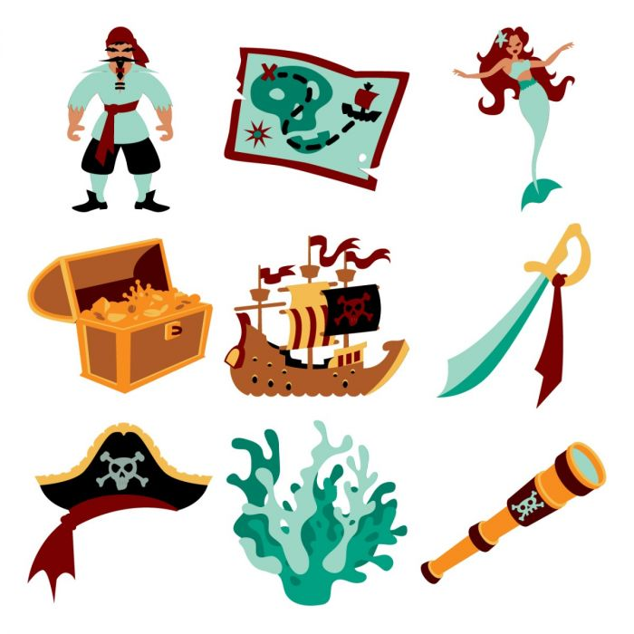 Pirate and mermaid clipart image free stock Pirates and Mermaids Digital Set image free stock