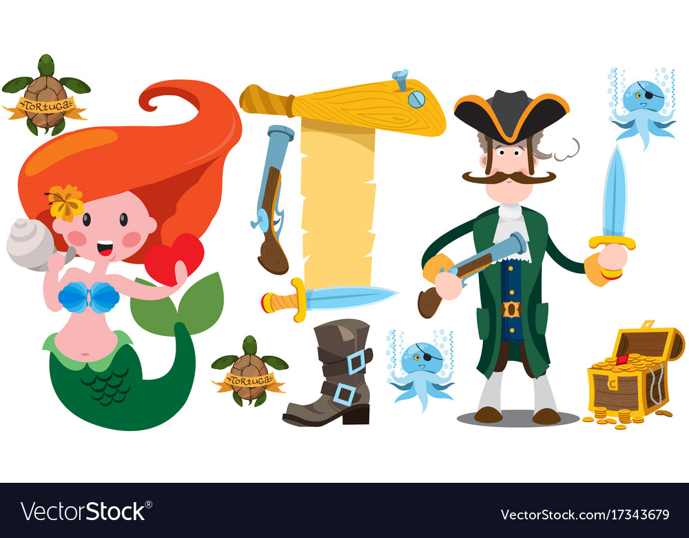 Pirate and mermaid clipart svg freeuse stock Pirate captain and mermaid banner from an old svg freeuse stock