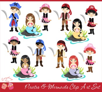 Pirate and mermaid clipart jpg free library Pirates and Mermaids Clipart Set jpg free library