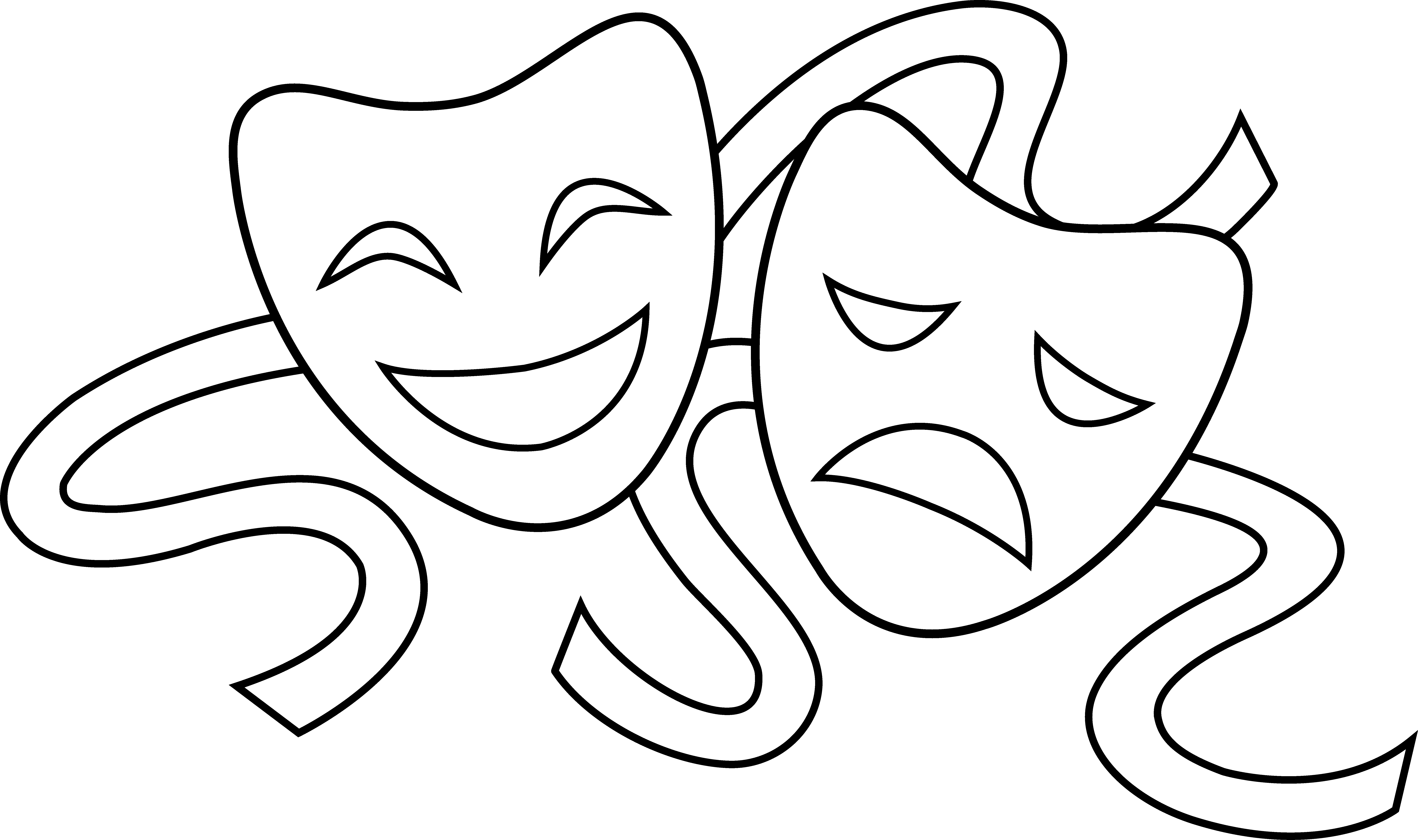 Star clipart black and white drama vector library Theater Masks Outline | Signs | Pinterest | Outlines, Masking and ... vector library