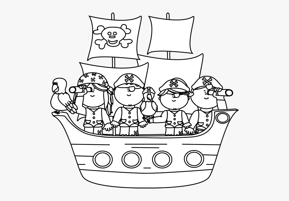 Pirate clipart black and white png royalty free Black And White Pirates On A Pirate Ship - Black And White ... png royalty free