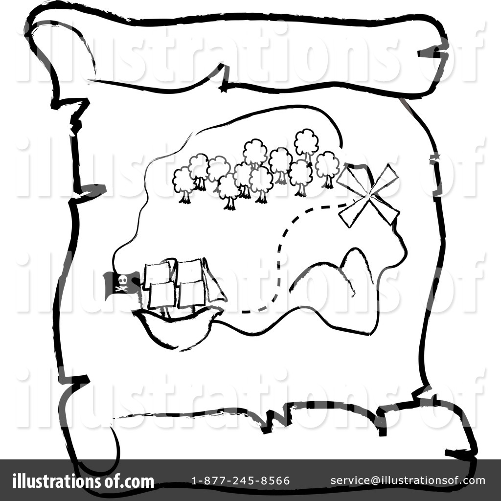 Pirate clipart black and white treasure map