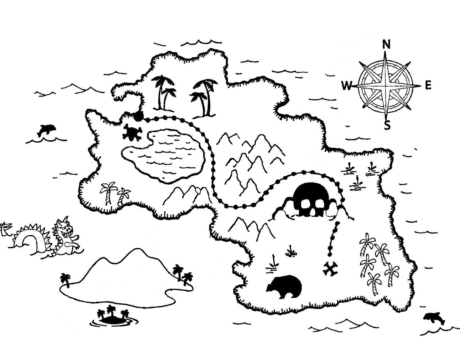 Pirate clipart black and white treasure map picture transparent stock Free Treasure Map Outline, Download Free Clip Art, Free Clip ... picture transparent stock