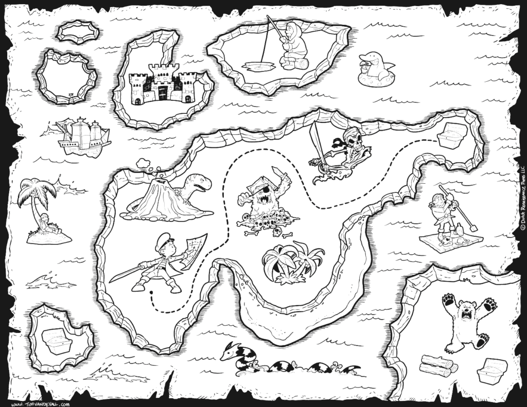 Pirate clipart black and white treasure map vector free library coloring ~ Coloring Printable Pirate Map Astonishing Photo ... vector free library
