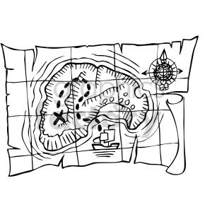 Pirate clipart black and white treasure map svg black and white stock pirate treasure map outline clipart. Royalty-free clipart # 407809 svg black and white stock