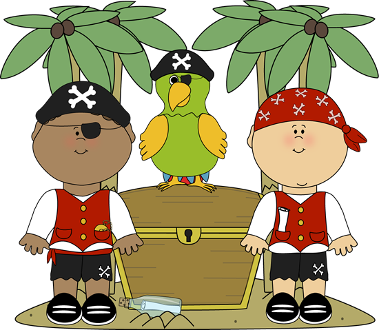 Pirate clipart for kids free svg stock Pirates with Parrot and Treasure | Printables For Kids Clip ... svg stock