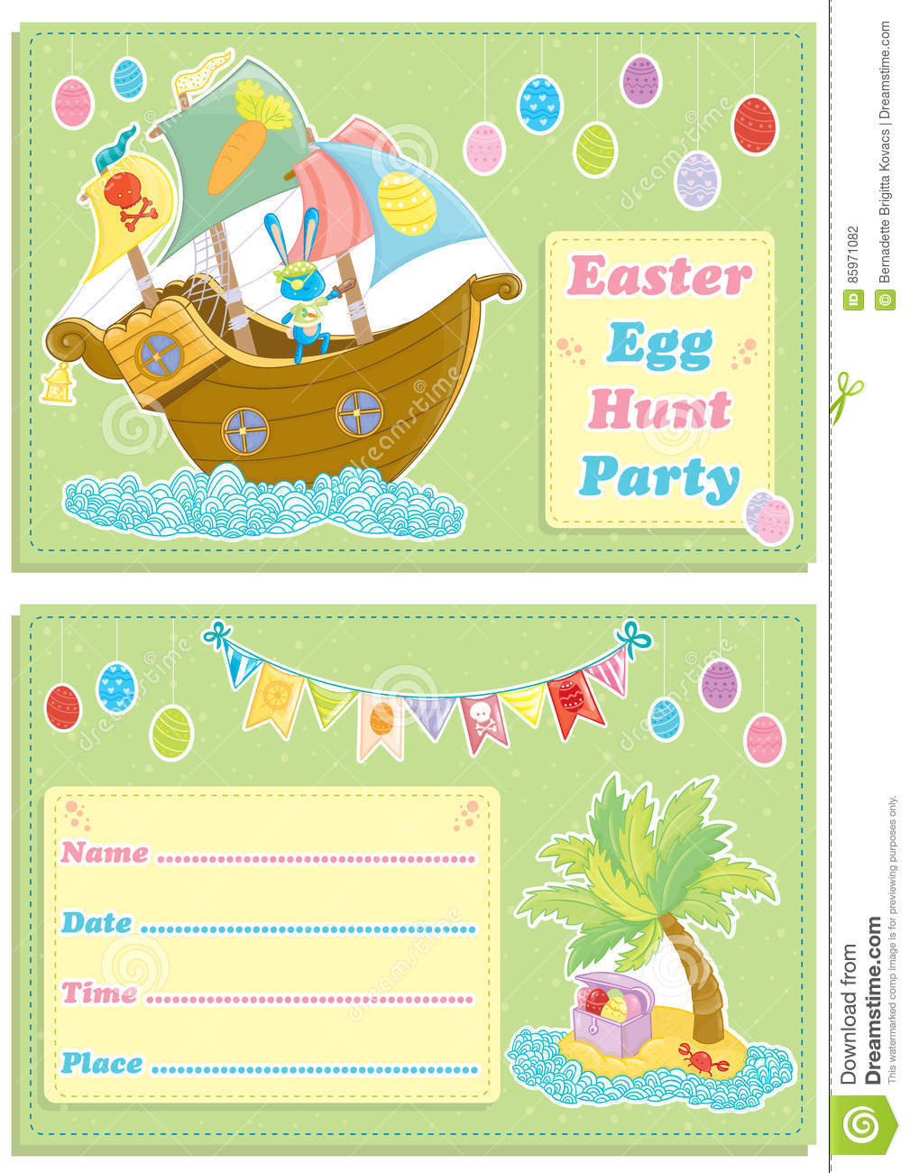 Pirate easter egg clipart banner black and white Happy Easter Children`s Egg Hunt Party Invitation Card Stock ... banner black and white