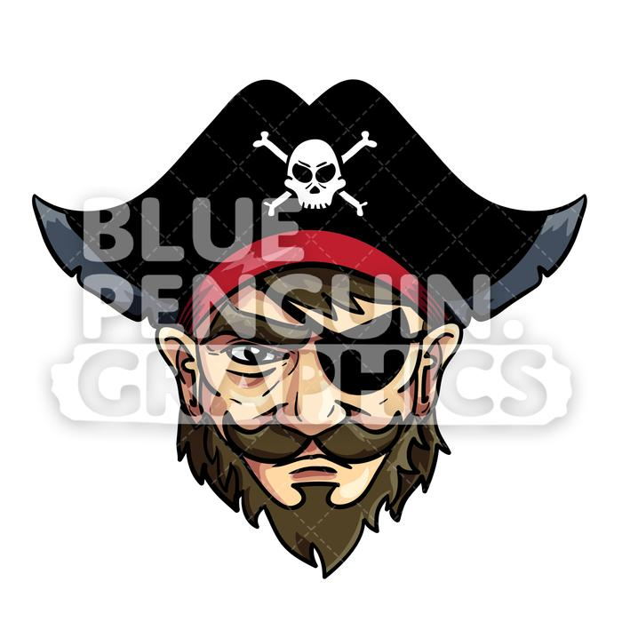 Pirate head clipart graphic library library Pirate Head Vector Cartoon Clipart Illustration graphic library library
