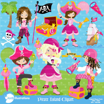 Pirate island clipart jpg transparent library Clipart, Girls Pirate Island Clip art, Digital Scrapbooking, AMB-1107 jpg transparent library