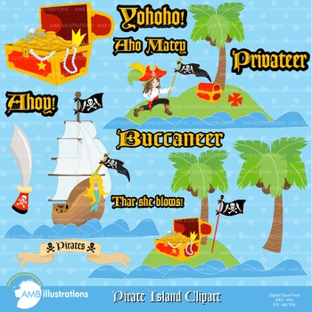 Pirate island clipart picture freeuse Clipart, Pirate Island Ahoy clip art, Digital Images, AMB-176 picture freeuse