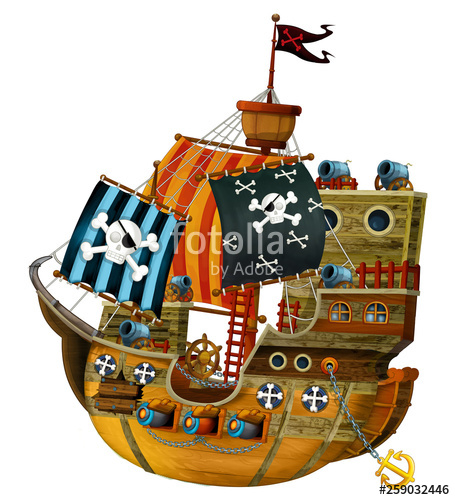 Pirate ship cannon clipart banner freeuse Cartoon pirate ship with cannons on white background ... banner freeuse