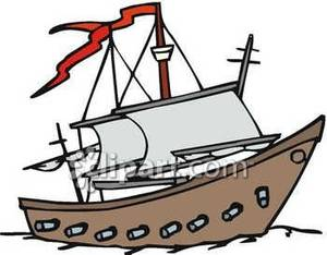 Pirate ship cannon clipart banner free download A Pirate Ship with Cannons Royalty Free Clipart Picture banner free download