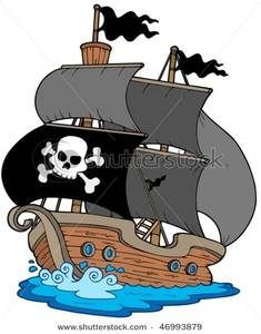 Pirate ship flag clipart clip free download Pirate Sailboat and the Jolly Roger Flag Clipart Picture clip free download