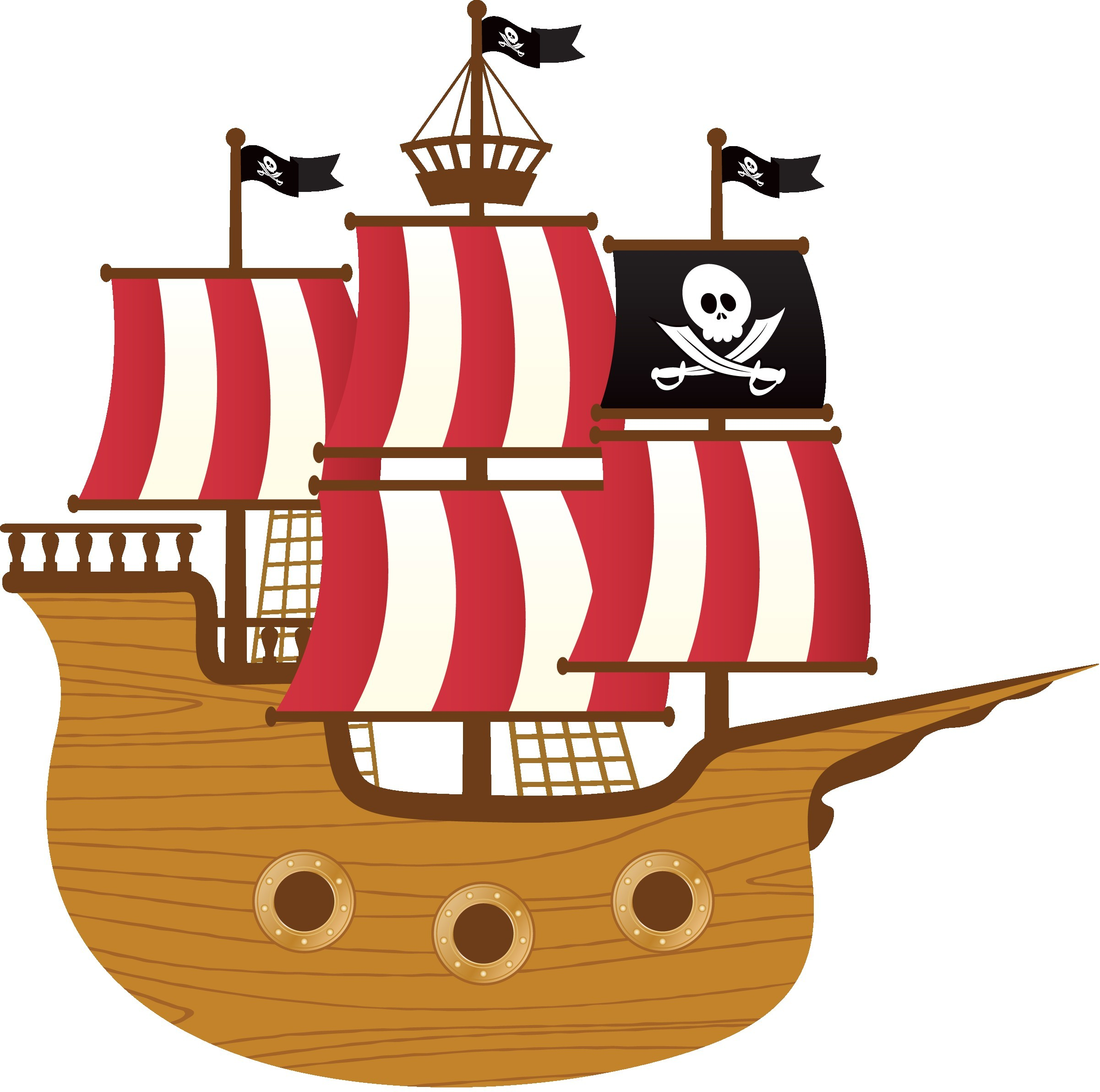 Pirate ship flag clipart vector library 44987558 Stock Vector Kids Pirate Ship Sailing In The Sea ... vector library