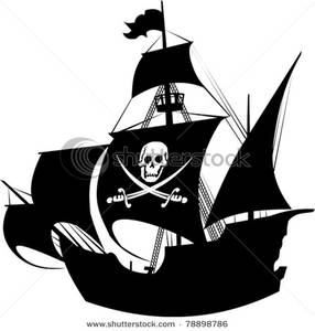 Pirate ship flag clipart graphic transparent library Clipart Image: Silhouette of a Pirate Ship with the Jolly ... graphic transparent library