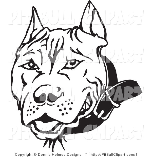 Pitbull clipart black white banner stock Clip Art Of A Black And White Pit Bull Face By Dennis - Free ... banner stock