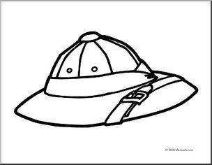 Pith helmet clipart jpg royalty free Clip Art: Pith Helmet (coloring page) I abcteach.com   abcteach jpg royalty free