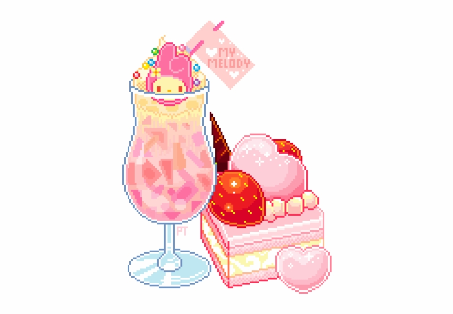 Pixel clipart kawaii vector freeuse stock My Melody - Kawaii Pixel Food Free PNG Images & Clipart ... vector freeuse stock