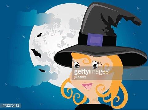 Pizca clipart banner transparent stock Linda Chica En LA Luna DE Pizca DE Disfraces DE Halloween Y ... banner transparent stock