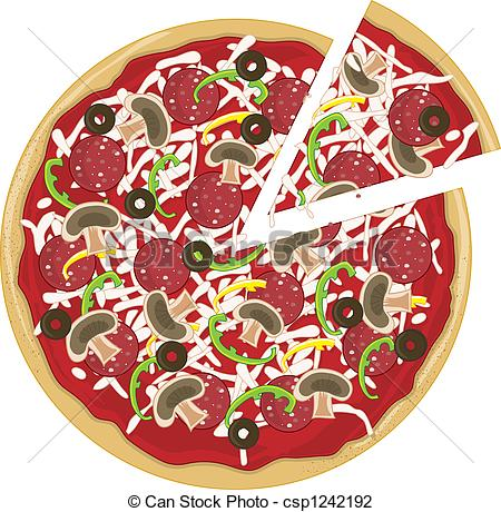 Pizza artwork clipart jpg transparent stock Clip Art of Pizza Slice Apart - A whole tasty pizza with a slice ... jpg transparent stock
