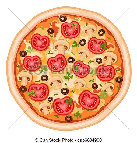 Pizza artwork clipart transparent library Vector Clipart of Pizza with tomatoes - Tasty and healthy - pizza ... transparent library