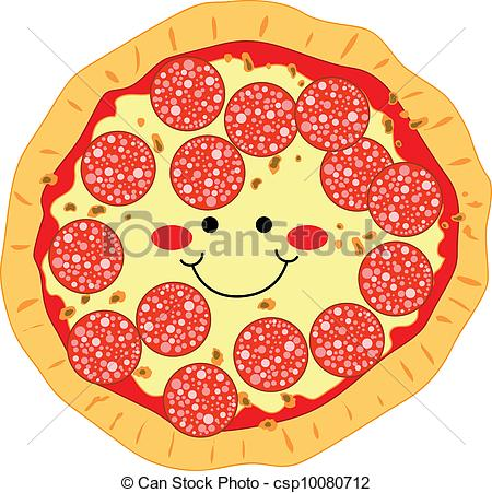 Pizza artwork clipart clip art freeuse library Vector Clip Art of Pepperoni Pizza - Happy smiling pizza made of ... clip art freeuse library
