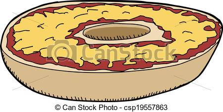 Pizza artwork clipart clip black and white stock Clip Art Vector of Pizza Bagel - Pizza bagel with cheddar cheese ... clip black and white stock