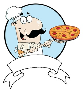 Pizza chef clipart svg royalty free stock Chef clipart image a pizza chef with a pizza and a blank banner ... svg royalty free stock