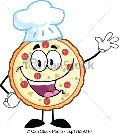 Pizza chef clipart royalty free stock Vector Clip Art of Pizza Chef Character Waving - Funny Pizza Chef ... royalty free stock