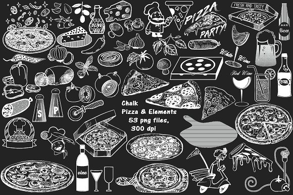 Pizza clipart chalk clip art black and white CHALK PIZZA CLIP ART ~ Creative Daddy clip art black and white