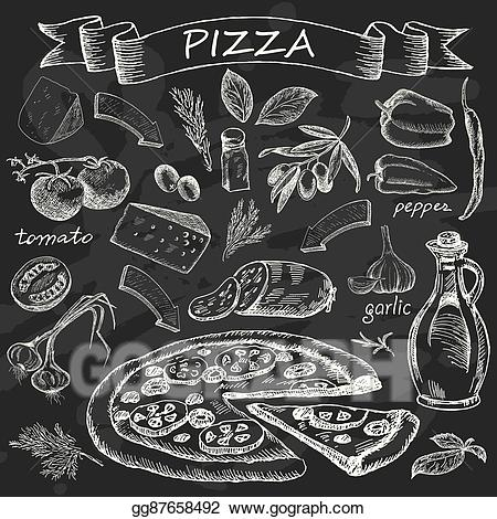 Pizza clipart chalk clip transparent stock Vector Stock - Pizza on chalk board. Clipart Illustration ... clip transparent stock
