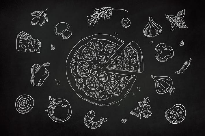 Pizza clipart chalk graphic freeuse download Drawn Pizza Clipart by Jumsoft on Envato Elements graphic freeuse download