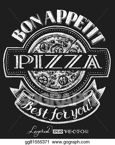 Pizza clipart chalk graphic royalty free library Vector Art - Pizza. lettering on chalkboard. Clipart Drawing ... graphic royalty free library