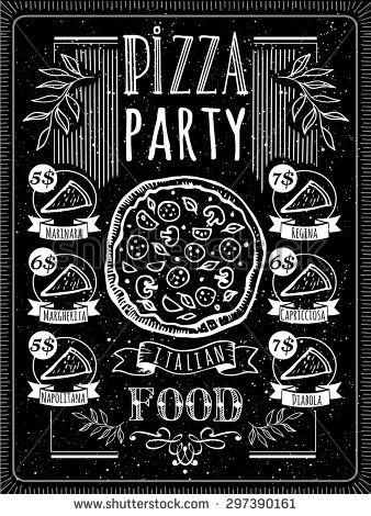 Pizza clipart chalk clip art free library Vector illustration with pizza menu. Pizza Poster on a ... clip art free library