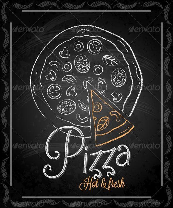 Pizza clipart chalk svg library Chalkboard Framed Pizza Menu - Food Objects   Pizza label ... svg library