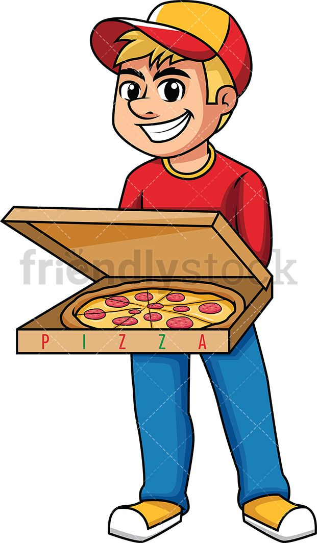Pizza delivery clipart graphic library stock Delivery Man Holding Open Pizza Box | Vector Illustrations ... graphic library stock