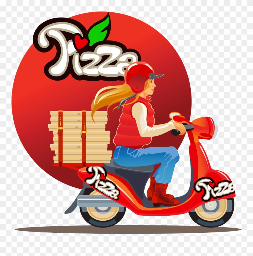 Pizza delivery clipart svg free library Pizza Motorcycle Beauty - Pizza Delivery Clipart (#698833 ... svg free library