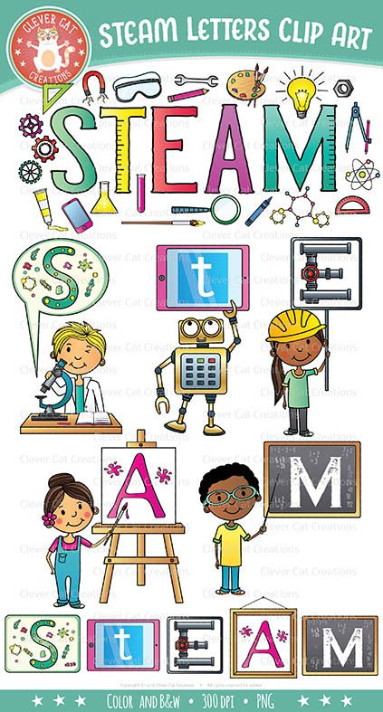 Pizzazz clipart jpg free library STEAM Clip Art Letters (Science, Tech, Engineering, Arts ... jpg free library