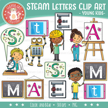 Pizzazz clipart banner library stock STEM l STEAM Clip Art Letters (Science, Tech, Engineering, Arts, Math) banner library stock