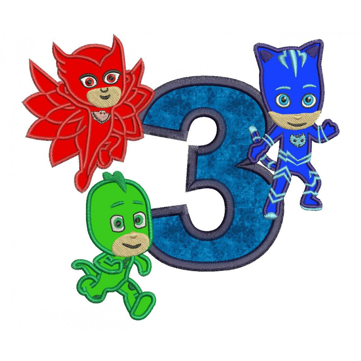 Pj mask birthday clipart image freeuse download Pj Masks 3rd Birthday Embroidery Applique Design image freeuse download