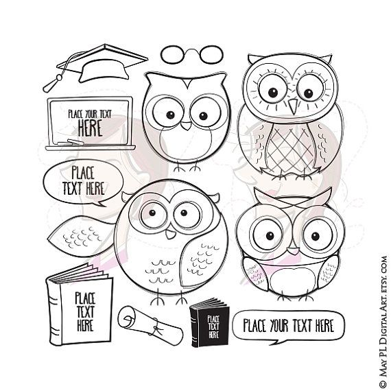 Place stamp here clipart freeuse library Owl Teacher Graduation Cute Owls Clipart Digistamps ... freeuse library