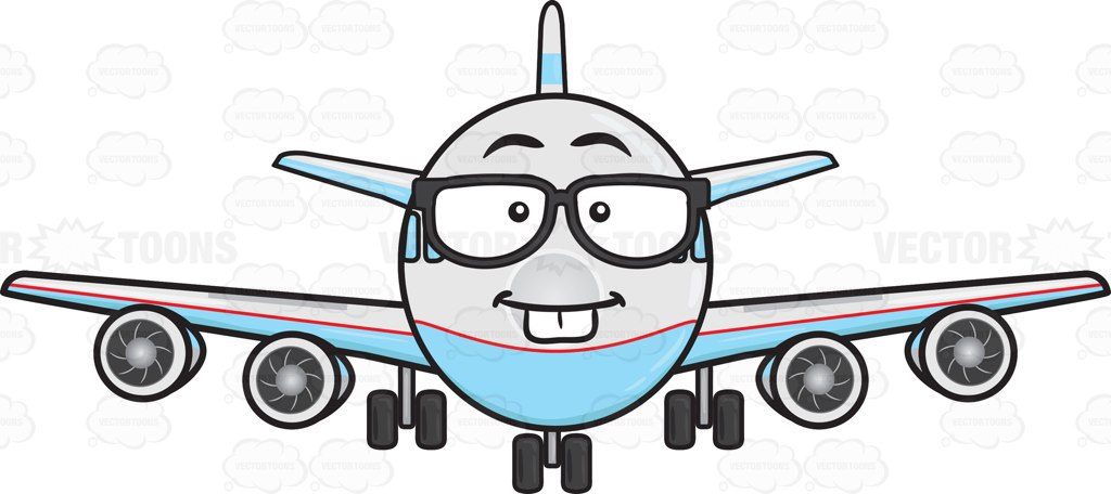 Plane clipart front jpg download Nerd Jumbo Jet Plane Wearing Eye Glasses Emoji Cartoon Clipart jpg download