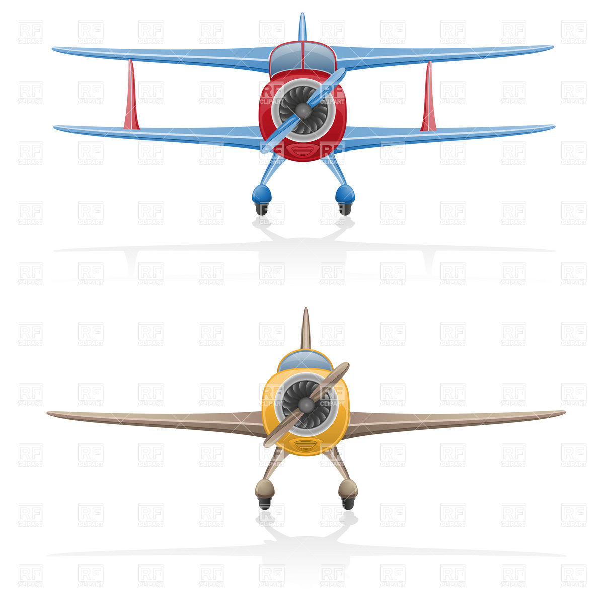 Plane clipart front png stock Front view of cartoon biplane with airscrew - old airplane Vector ... png stock