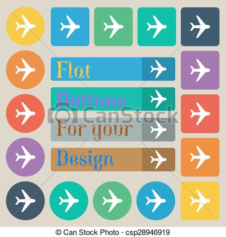 Plane clipart square image royalty free download Vector Clip Art of Plane icon sign. Set of twenty colored flat ... image royalty free download