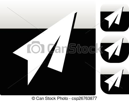 Plane clipart square graphic free library Vectors Illustration of Paper Plane Icons with different shapes ... graphic free library