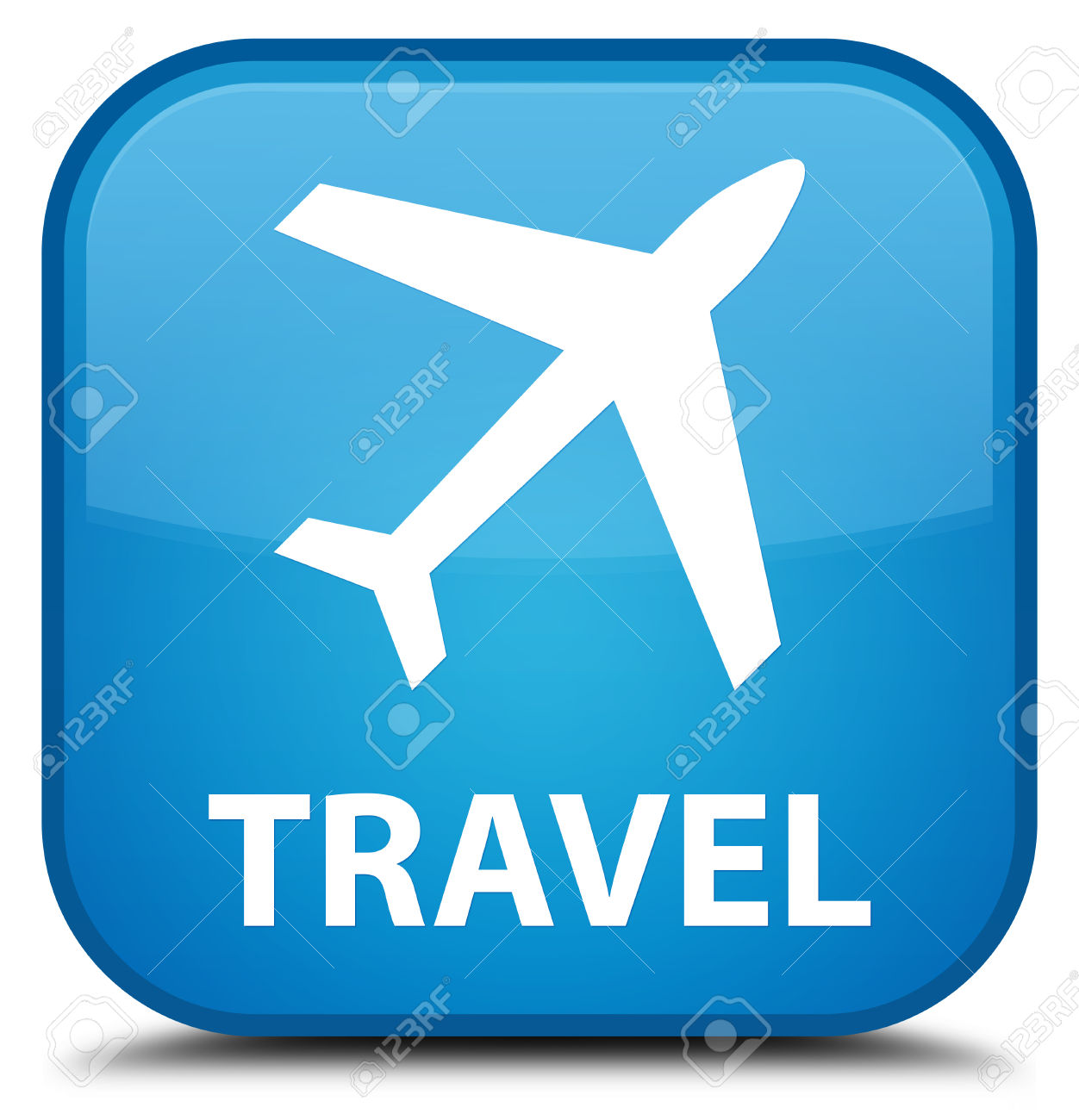 Plane clipart square jpg free download Travel (plane Icon) Cyan Blue Square Button Stock Photo, Picture ... jpg free download