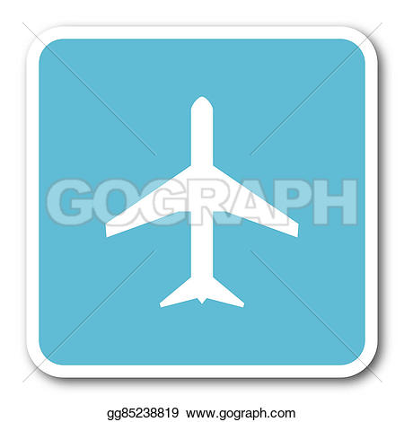 Plane clipart square jpg transparent stock Stock Illustration - Plane blue square internet flat design icon ... jpg transparent stock