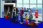 Plane gates clipart picture black and white library Clipart of People boarding the airplane at the gate k19975061 ... picture black and white library